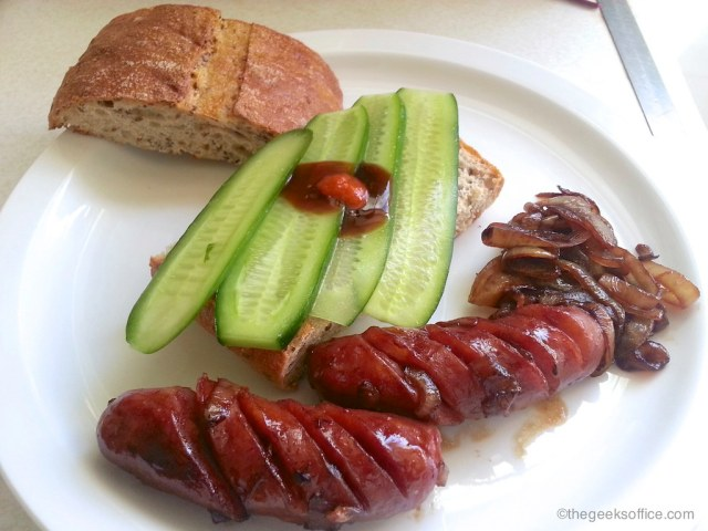 Chinese Sausage, Ciabatta Bread and Cucumbers
