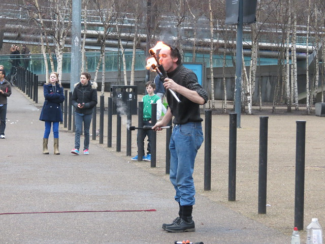 Fire juggler, London