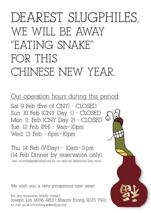 CNY 2013 opening hours