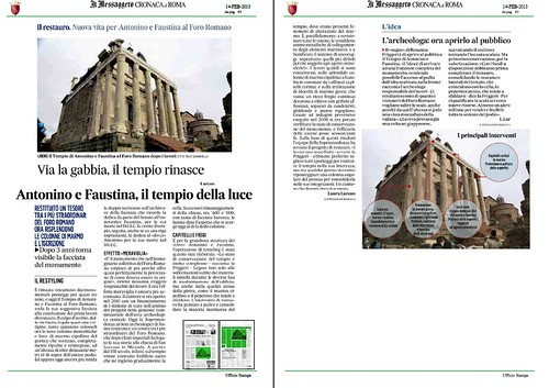 ROMA ARCHEOLOGIA & BENI CULTURALI: Il Restauro - Il Tempio di Antonio e Faustina - Le Colonne di Marmo e l' iscrizione, IL MESSAGGERO (14/02/2013), p. 49. by Martin G. Conde