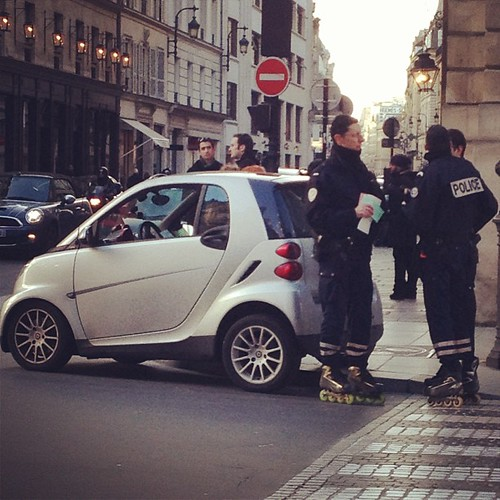 Definition of embarrassing: Getting a ticket in your Smart Car from policemen on rollerblades!!