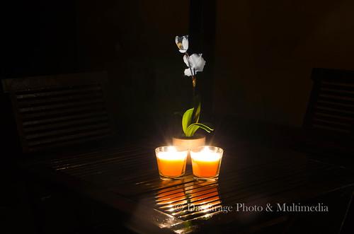 Fotografía realizada en la terraza de Cal Escaler a la luz de las velas