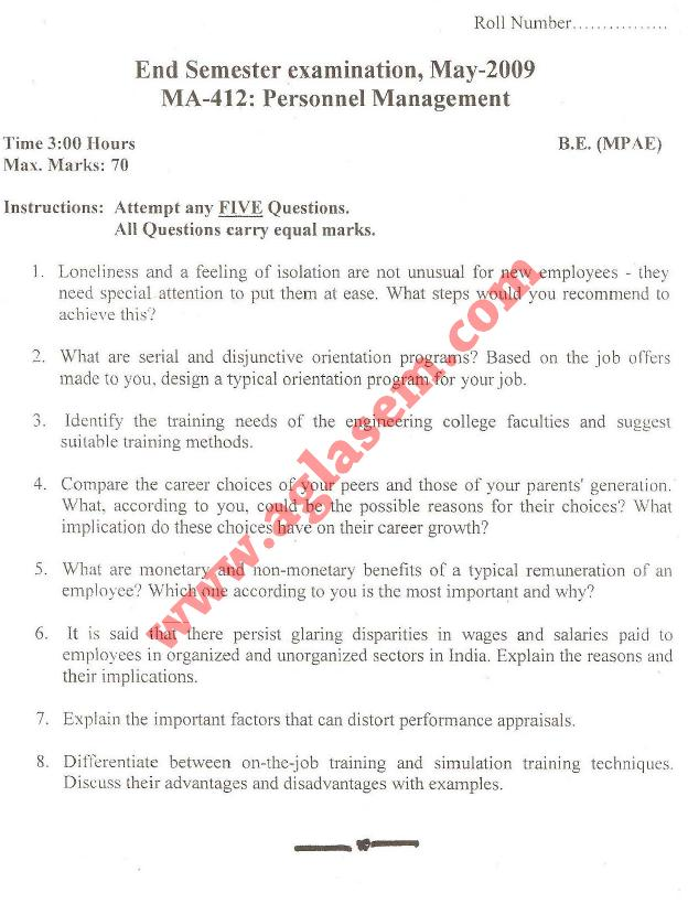 NSIT: Question Papers 2009 – 8 Semester - End Sem - MA-412