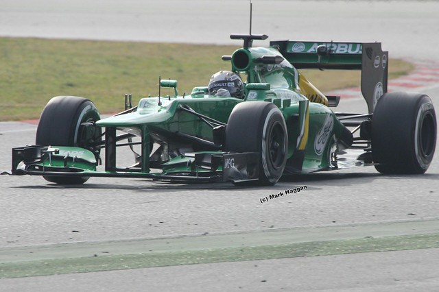 Giedo van der Garde in his Caterham at Formula One Winter Testing 2013