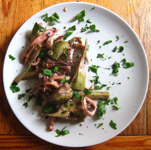 Mark Bittman's squid and artichokes braised in white wine