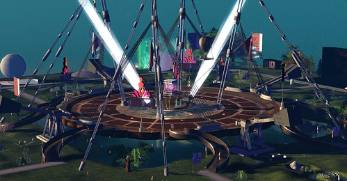 The four-region stage at One Billion Rising in Second Life, photographed by Wildstar Beaumont