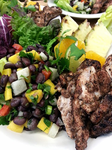 jerk chicken with jicama, black bean, mango salad by pipsyq