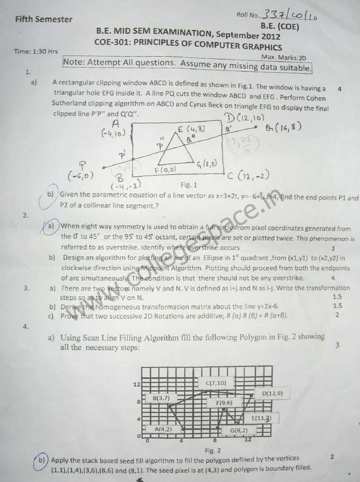 NSIT Question Papers 2012 – 5 Semester - Mid Sem - COE-301