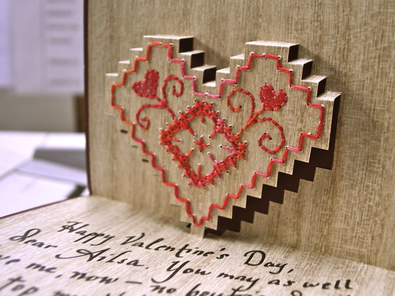 embroidered pop-up valentine