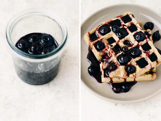 Blueberry maple syrup + buckwheat waffle