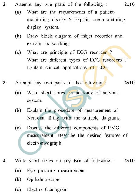 UPTU B.Tech Question Papers - EC-021 - Biomedical Instrumentation