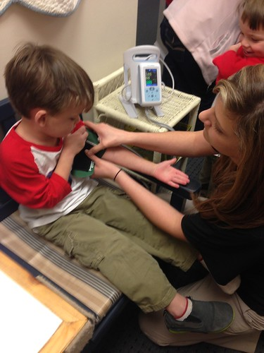 Linus getting blood pressure checked