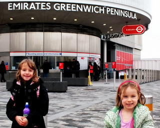 Millie and Amber outside Emirates Greenwich Peninsula