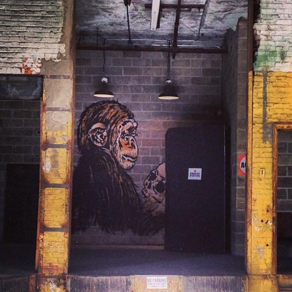 The Thinker  #igny #oldschool #igdaily #igaddict #instafan #instagood #instagramhub #instagrammer #iphone #street #streetart #art #graffiti #williamsburg #monkey #skull #surprise #dock #photography #picoftheday #photooftheday  #2013