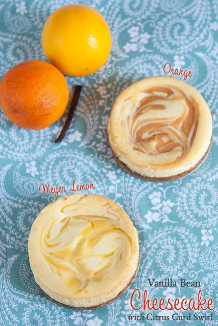 Meyer Lemon and Orange Swirled Vanilla Bean Cheesecakes
