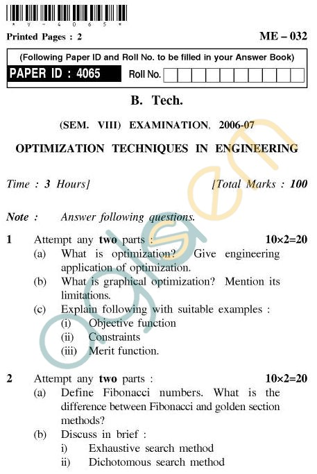 UPTU B.Tech Question Papers - ME-032 - Optimization Techniques in Engineering