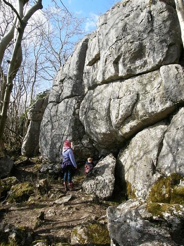 A and S investigate a limestone crag