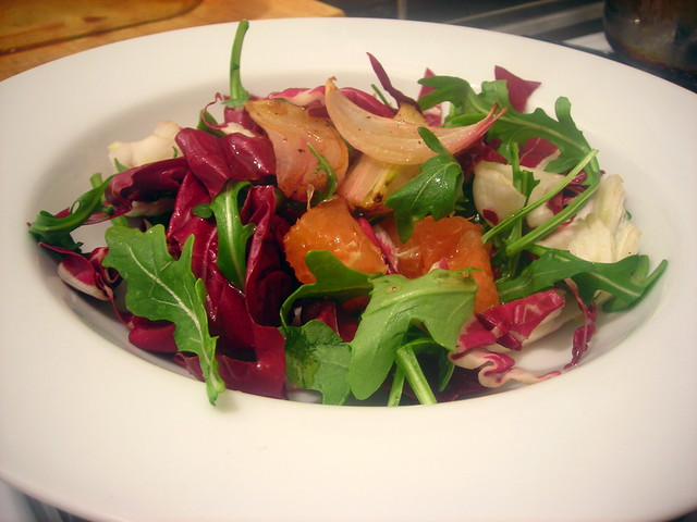 Cara Cara orange and radicchio salad, with honey-roasted shallots, and citrus vinaigrette