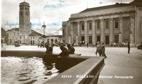 postcard - bolzano - stazione ferroviaria - 1954