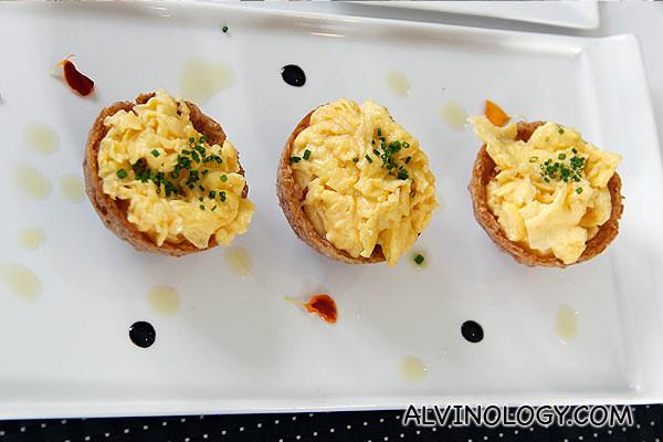 Creamy egg omelette in crispy yam nest