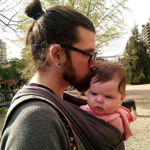 Daddy & daughter at the dog park #manbun #cooldad @blame_simian