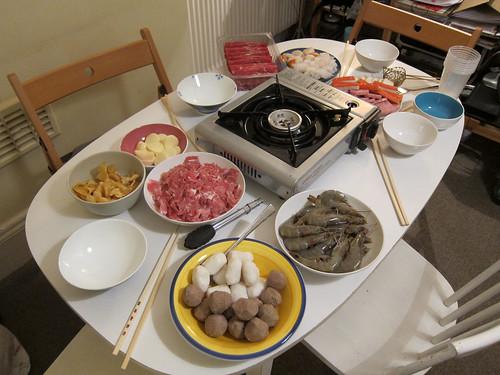 Chinese New Year Eve Hotpot Setup