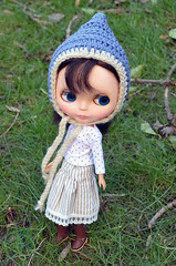 Blue and Cream Pixie Hat