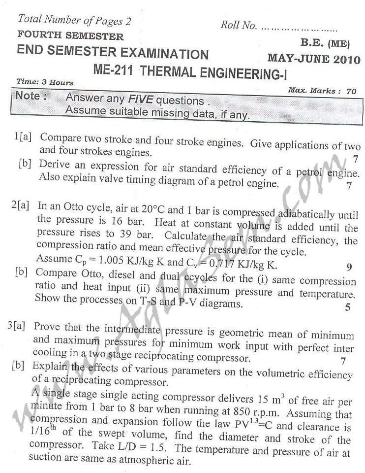 DTU Question Papers 2010 – 4 Semester - End Sem - ME-211