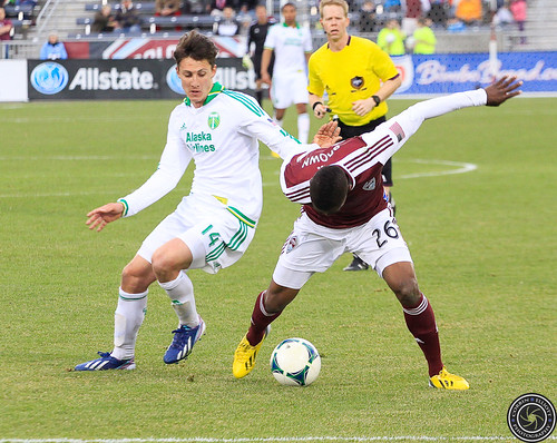 Deshorn Brown (Rapids), Ben Zemanski (Timbers), Colorado Rapids Host Portland Timbers at Dick's Sporting Goods Park Colorado by Corbin Elliott Photography