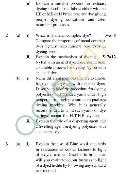 UPTU B.Tech Question Papers - CT-403 - Textile Chemistry-II