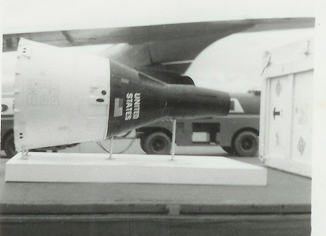 McDonnell capsule No. 13 at Lagos Airport in 1962 as part of a global tour, popularly known as the 'fourth orbit of Friendship 7' (copyrigt Jaycee 1)