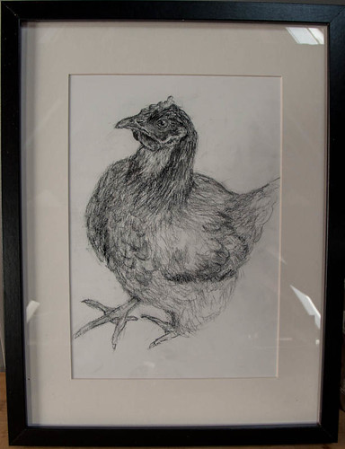 Ikea-framed chicken drawing
