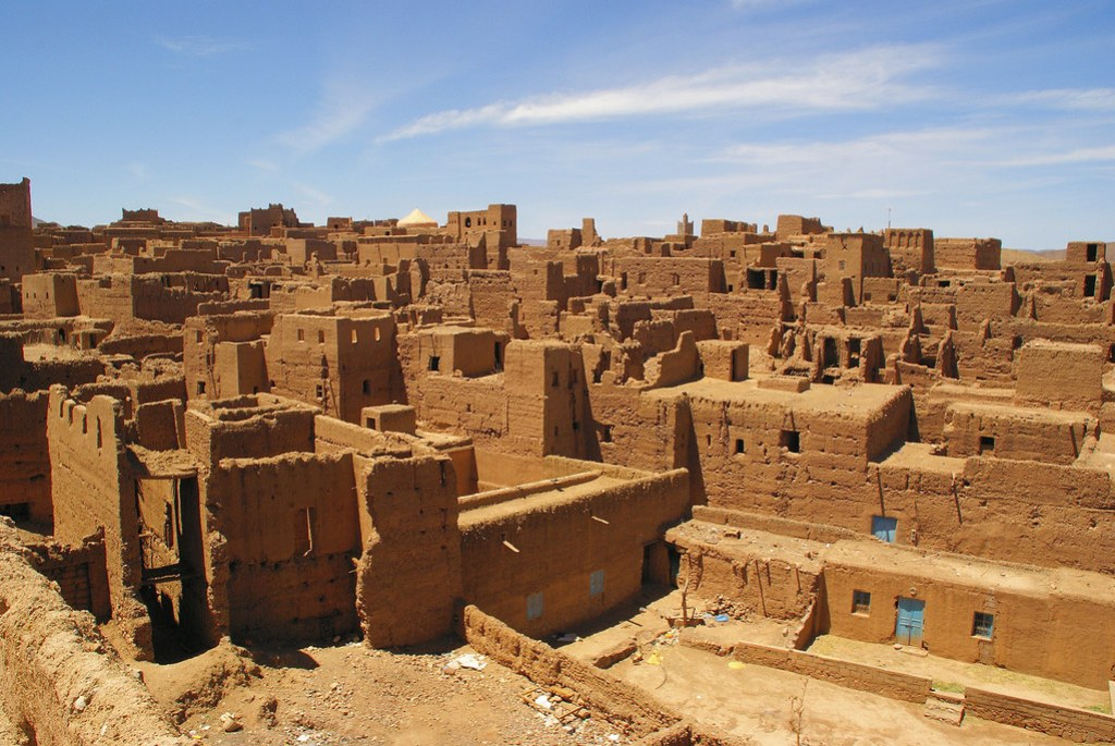 A photo of a Kasbah of Tamnougalt village in the Draa River valley in Morocco.