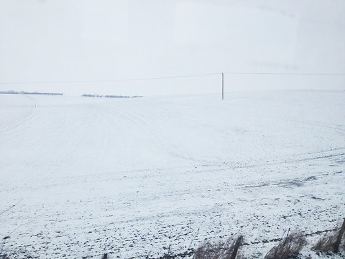 Snowy fields outside Cambridge