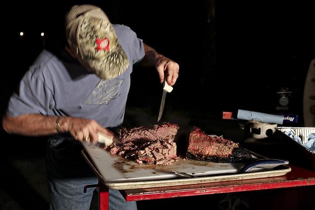 cutting the brisket