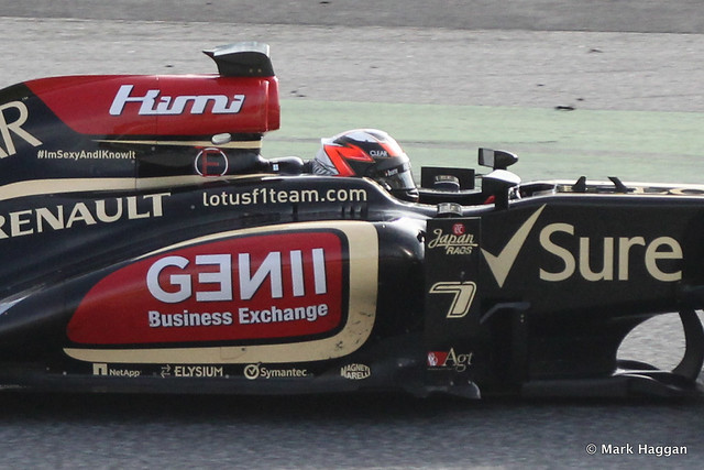 Kimi Raikkonen in his Lotus at Formula One Winter Testing, March 2013