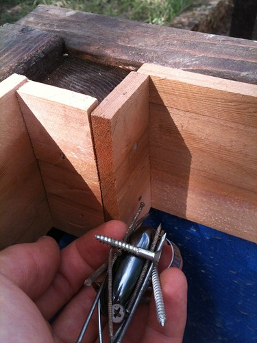 I use recycled finishing nails on the small trim pieces to save valuable stainless fasteners.