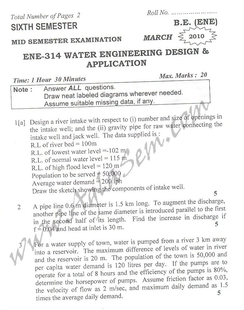 DTU Question Papers 2010 – 6 Semester - Mid Sem - ENE-314