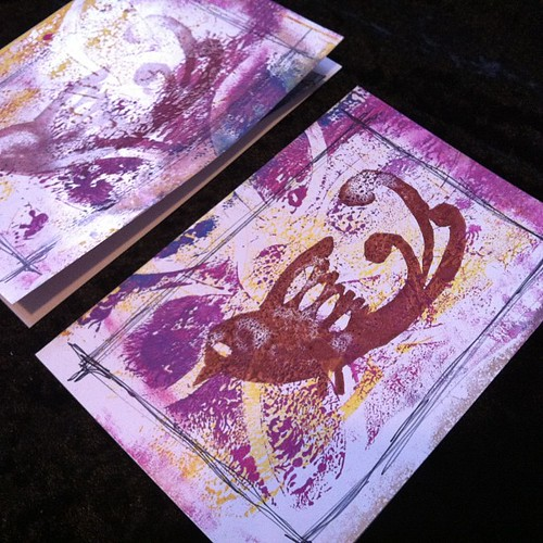 Gelli printed and original rubber stamped blank cards to go with some mail I am sending soon to some folks. Need to get well enough to get out of the house and go to the PO, though.