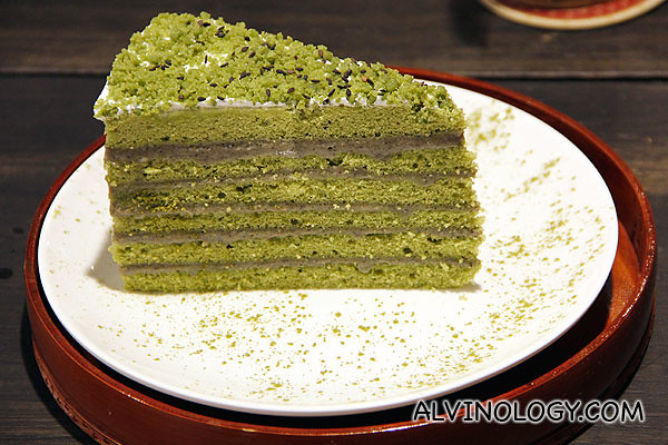 Japanese green tea with goma sesame cake