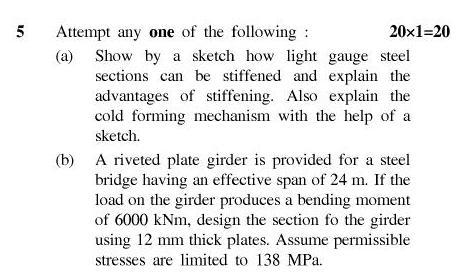 UPTU B.Tech Question Papers - CS-801-Steel Structures– II
