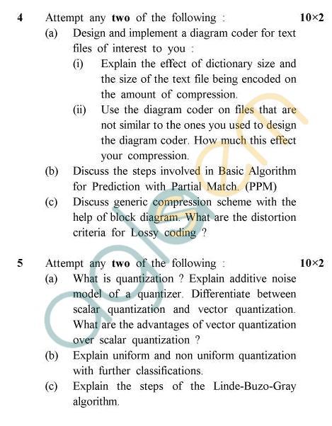 UPTU B.Tech Question Papers -CS-54 - Data Compression