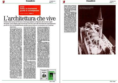 ITALIA e EMILIA: Restauro Emilia - L'architetura che vive, il manifesto (16/03/2013), p. 10. by Martin G. Conde