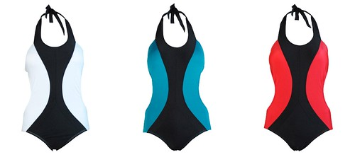 Colorblock Piping Maillot, white, teal red, 1095