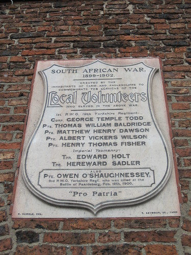 Yarm South African Wars Plaque