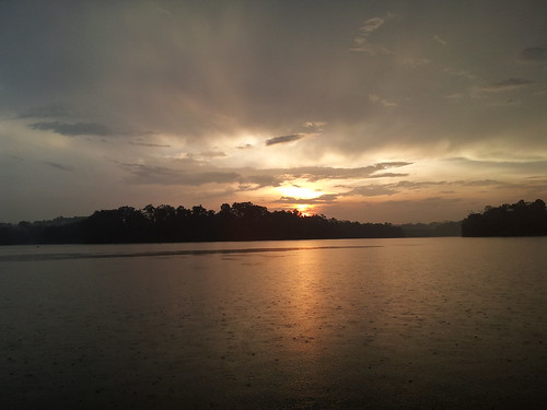 sunset with rain