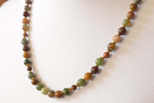 Beaded Jasper and Agate Necklace