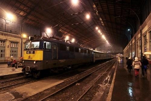 Budapest-Nyugati pályaudvar and a Hungarian passenger train