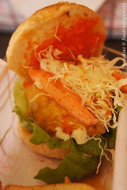 21.The pioneer rm 17 alacarte-Mild Cheddar cheese, sliced cabbage, Tobiko, crab sticks, Pimento sauce & 100% premium pork@ burgertory