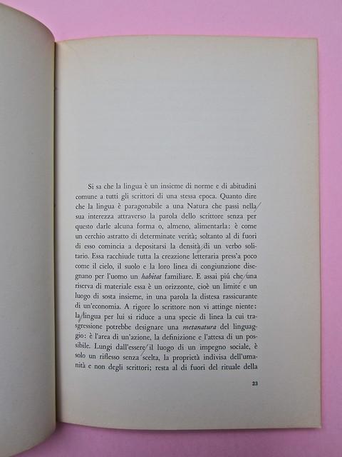 Roland Barthes, Il grado zero della scrittura. Lerici editori 1960, [progetto grafico di Ilio Negri?]. Pagina 23 (part.), 1